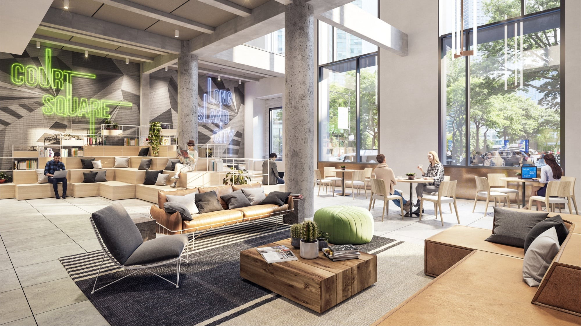 Naturally lit ground floor common area with tenants enjoying multiple seating options