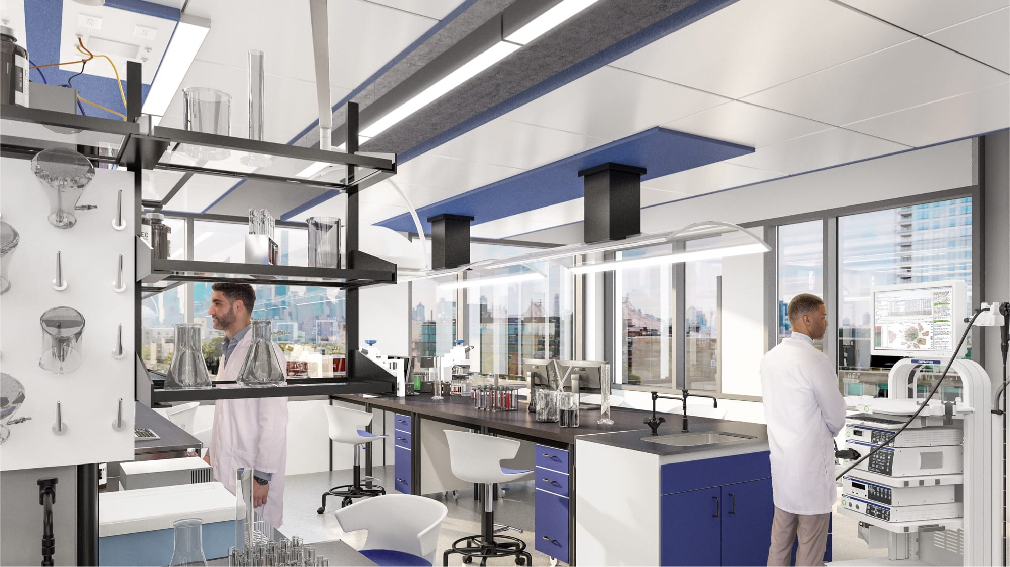 Two male scientists work in state-of-the-art lab space at Innolabs
